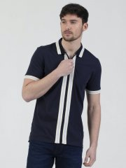 Mish Mash Belgrade Zip Through Polo Navy