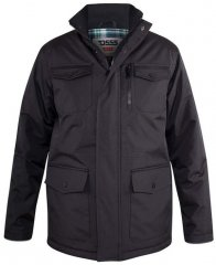 D555 Fargo Five Pocket Jacket With Ribbed Neck and Inner Quilting Black