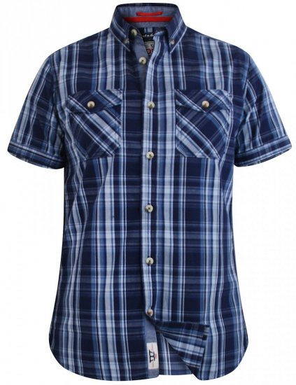 D555 Safford Short Sleeve Navy Check Shirt - Krekli - Krekli - 2XL-8XL