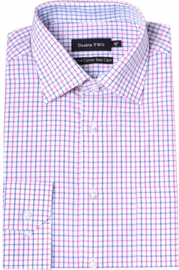 Double TWO Formal Shirt 3576 Pink L/S - Krekli - Krekli - 2XL-8XL