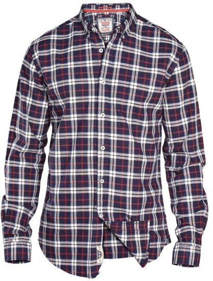 D555 Carter Check Shirt Navy-Red - Krekli - Krekli - 2XL-8XL