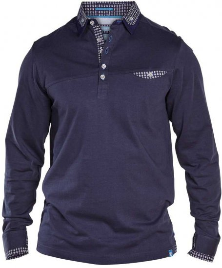 D555 REMUS Long Sleeve Polo Shirt Navy - Polo krekli - Polo krekli - 2XL-8XL