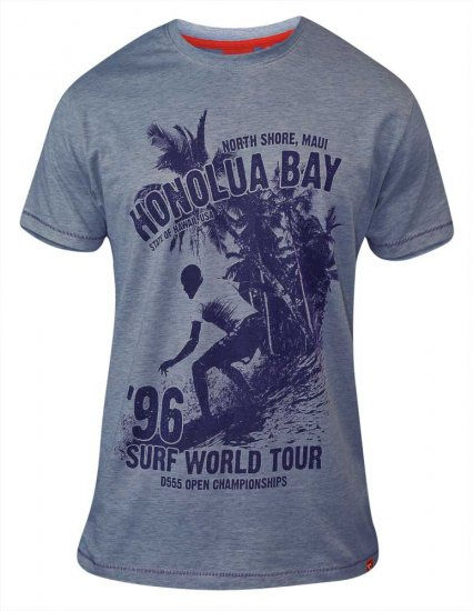D555 CLAYTON Honolua Bay T-shirt Denim Marl - T-krekli - T-krekli - 2XL-8XL