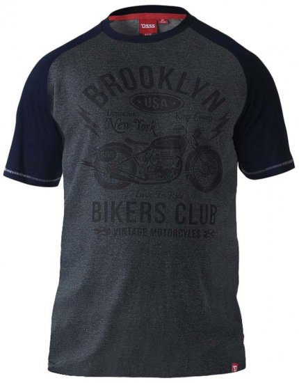 D555 HIRALDO Brooklyn Bikers Club T-Shirt Charcoal/Black - T-krekli - T-krekli - 2XL-8XL