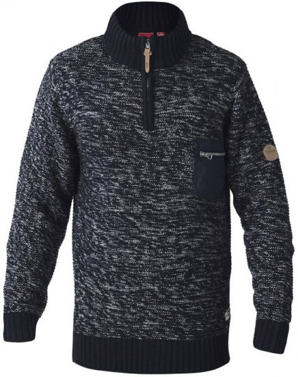 D555 REMINGTON Sweater With Woven Zipper Chest Pocket Navy/Grey - Džemperi un džemperi ar kapuci - Džemperi - 2XL-8XL