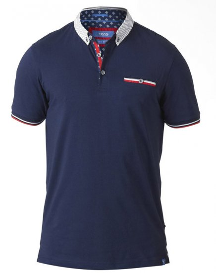 D555 GARFIELD Short Sleeve Stretch Polo Shirt Navy - Polo krekli - Polo krekli - 2XL-8XL
