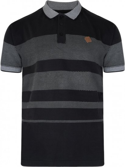 Kam Jeans 5222 Stripe and Dot Polo Black - Polo krekli - Polo krekli - 2XL-8XL